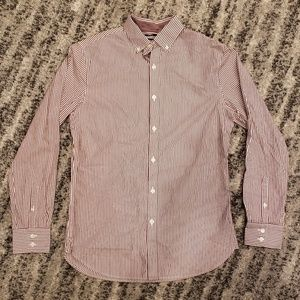 Burgundy and White Striped Button Up